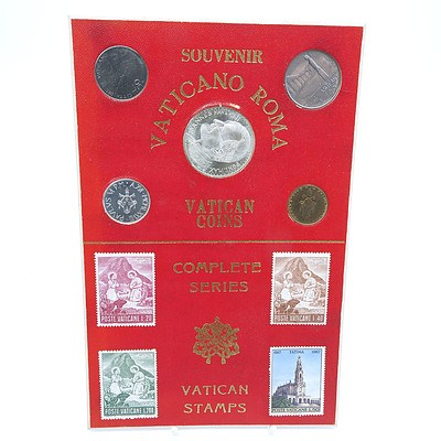 Set of Vatican Souvenir Coins and Stamps