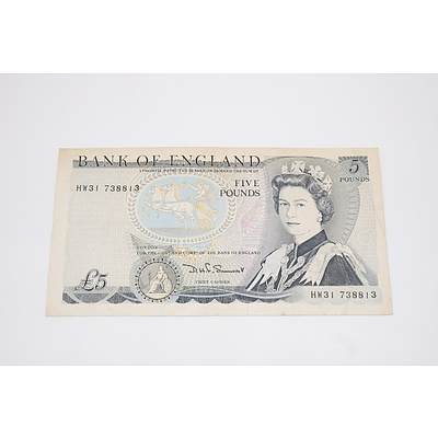 1980 Bank of England Five Pound Banknote Reverse Duke of Wellington Signed D.H.F Somerset