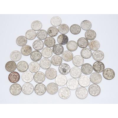 50x Australian Six Pence Coins 1951-1962