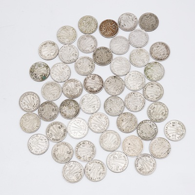 46x Australian Three Pence Coins 1950-1959
