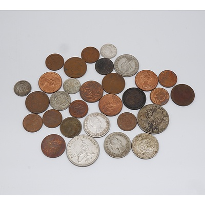 Group of Australian Shillings, Florins, 6 Pence, 3 Pence and Pennies