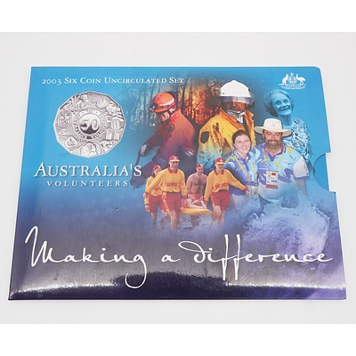 2003 Australia's Volunteers Making a Difference Six Coin Uncirculated Coin Set