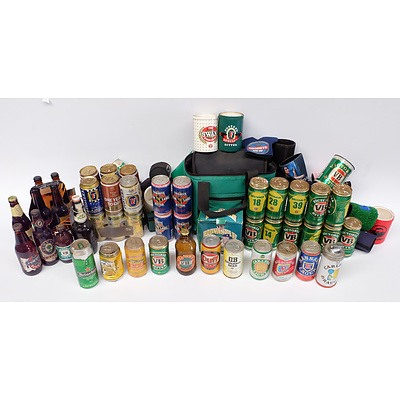 Large Assortment of Sealed Old Sealed Beer Cans Including: Duff, VB, Tooheys, Fosters, Heineken and much more
