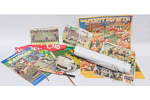 Assorted Sporting Posters, Flags, Cutouts and Memorabilia