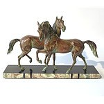 Art Deco Style Patterned Spelter Horses on Marble and Onyx Base