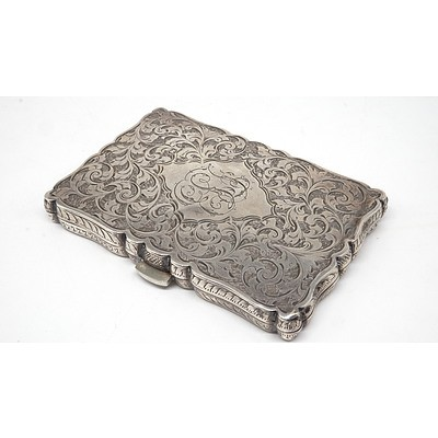 Late Victorian Monogrammed and Engraved Sterling Silver Card Case, Birmingham, 1892