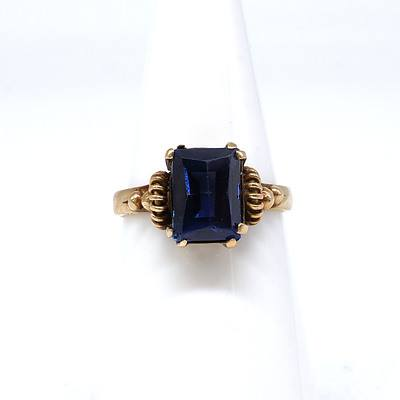 9ct Yellow Gold Ring with Created Blue Gem