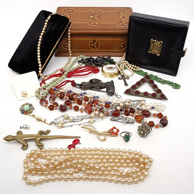 Large Group of Costume Jewellery, Frames and More, Including Table Lighter