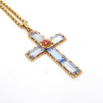18ct Yellow Gold Fine Belcher Chain, with 18ct Yellow Gold Cross Set with Blue Paste, 9g