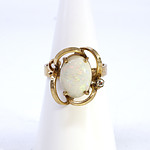 9ct Yellow Gold Ring with Solid White Opal Cabochon and One Single Cut Diamond 0.03ct