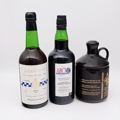 Three Bottles of Australian Bureau of Criminal Intelligence Port 750ml