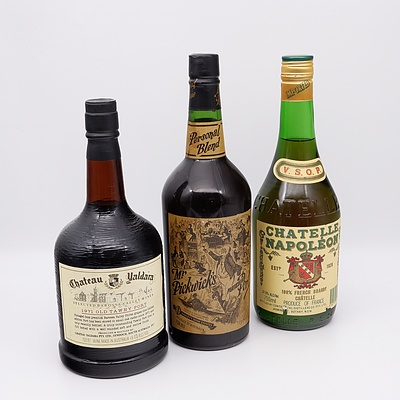 Chateau Yaldara 1971 Tawny Port 750ml, Chatelle Napoleon French Brandy 750ml and Mr Pickwick's Particular Port 738ml