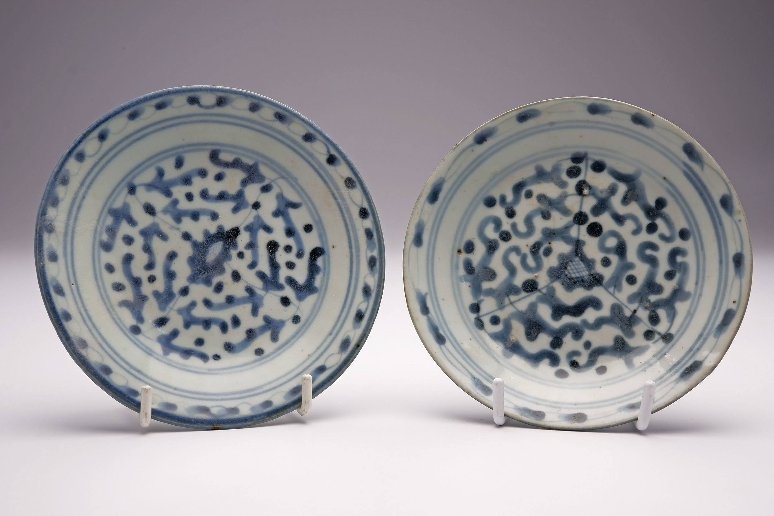 'Pair of Chinese Swatow Ware Blue and White Dishes with Seal Marks to Bases, 19th Century'