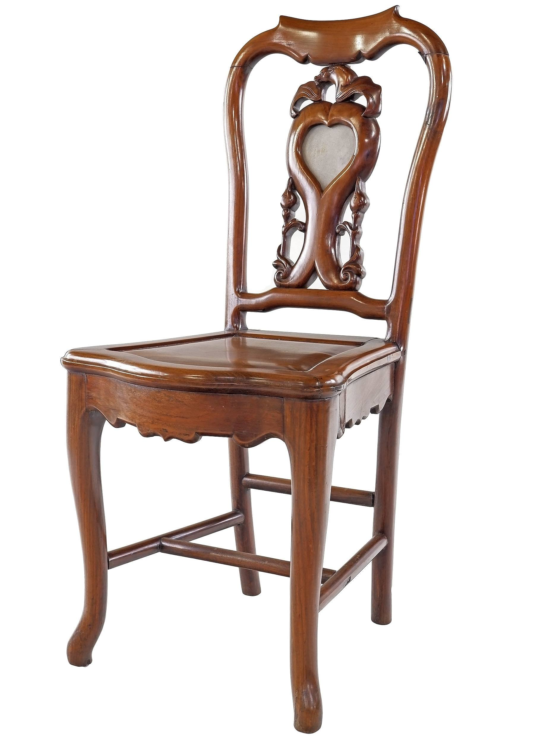 'Antique Chinese Hongmu and Marble Side Chair with Relief Carved Bat'
