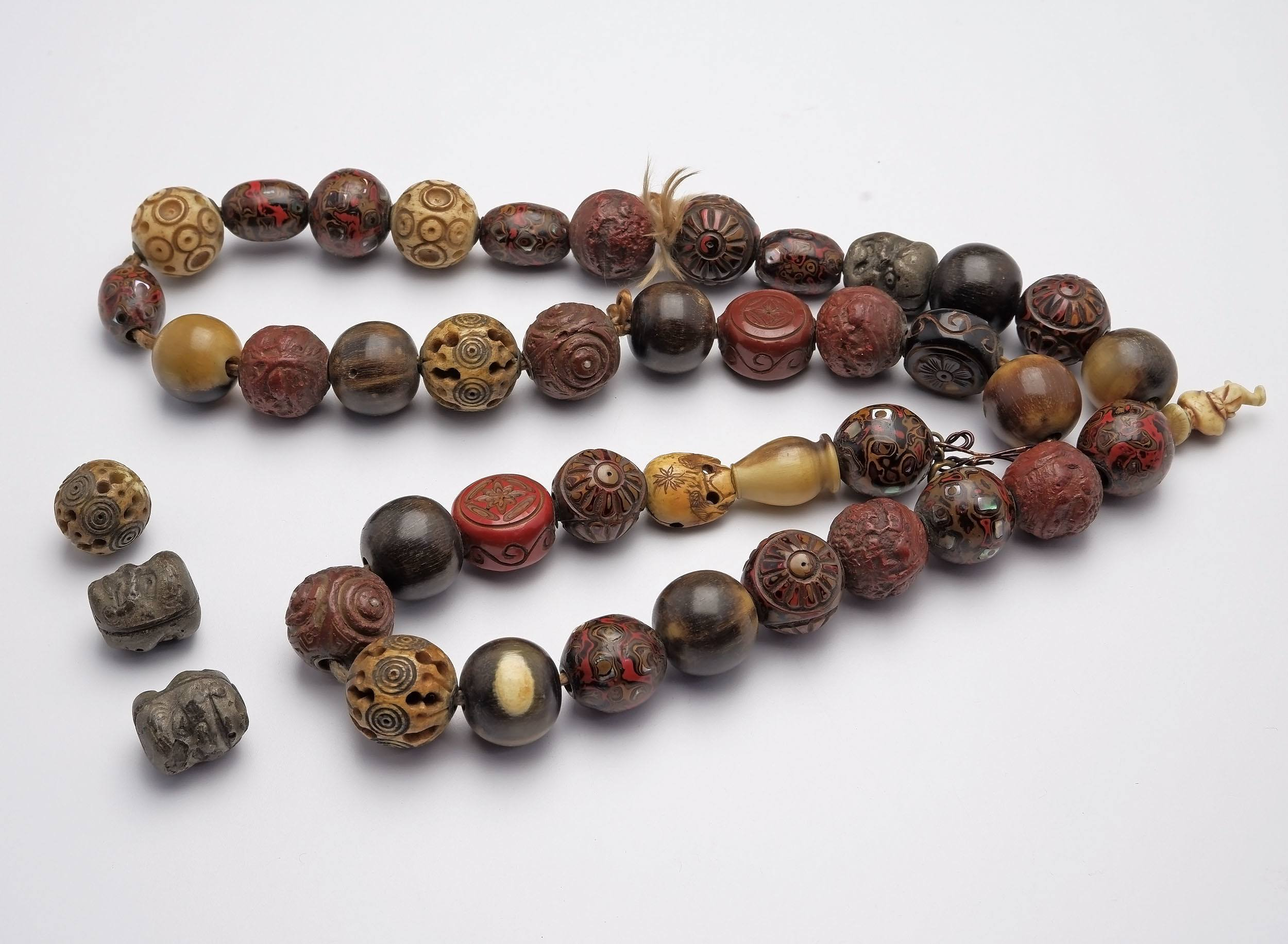 'Chinese Necklace with Various Lacquer, Bone and Other Beads'