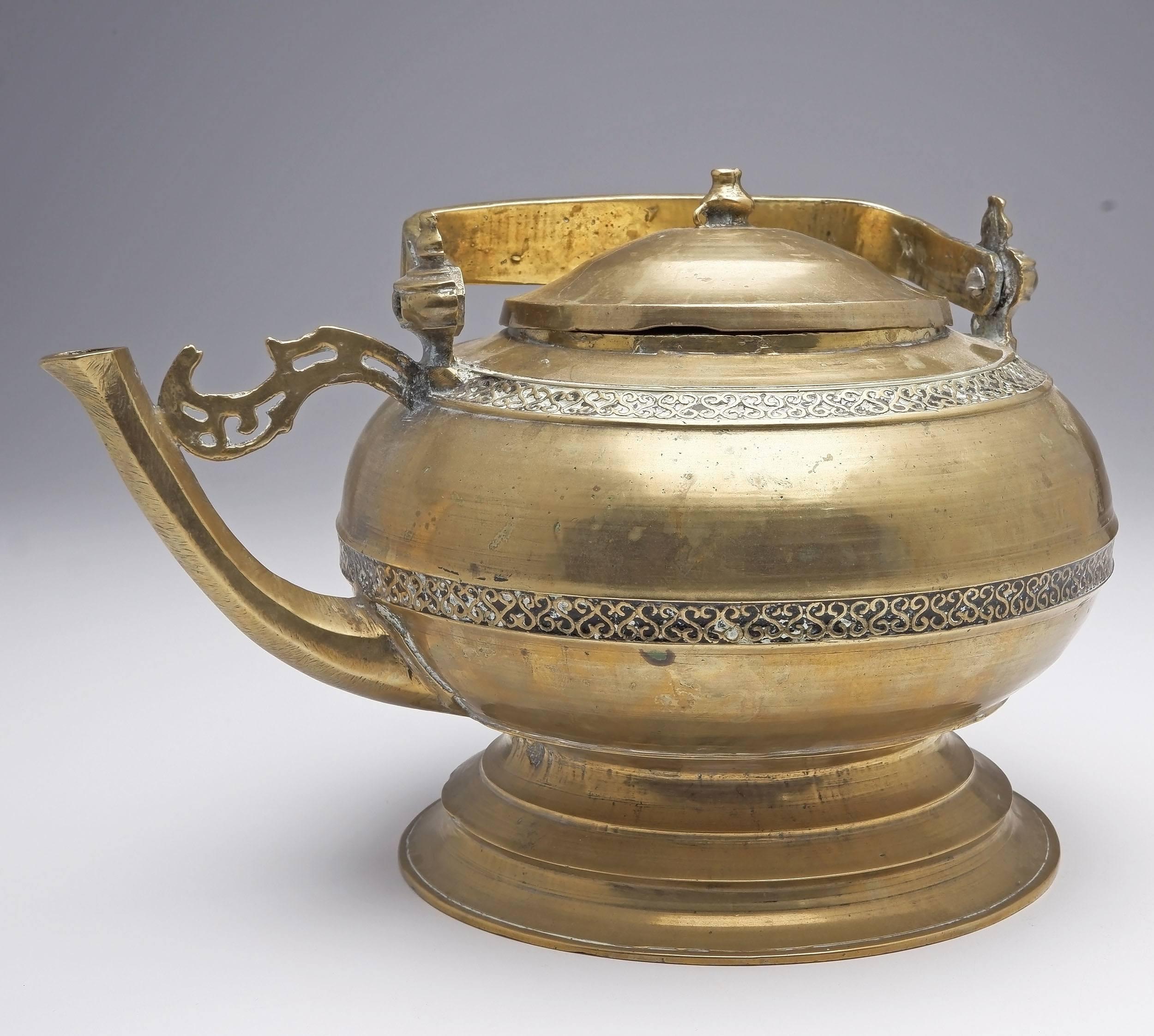 'Antique Malay Indigenous Cast Brass and Tar Inlaid Kettle, Probably Minangkabau People'