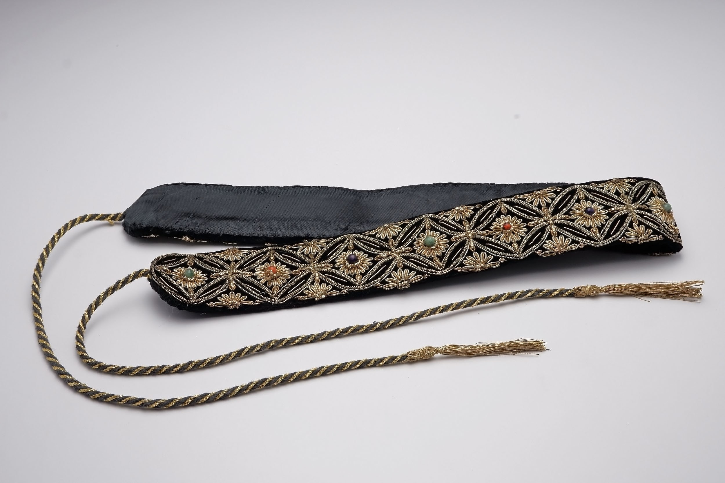 'Malay Couched Metal Thread and Gem Set Silk Ceremonial Belt'