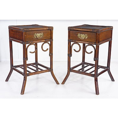 Pair of Vintage Asian Bamboo and Hardwood Bedside Tables with Brass Tables