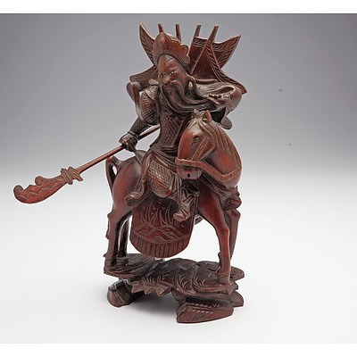 Chinese Carved Hardwood Model of A Warrior, Early to Mid 20th Century