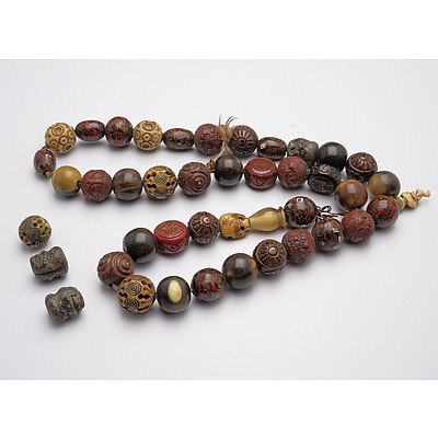 Chinese Necklace with Various Lacquer, Bone and Other Beads