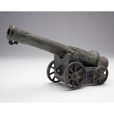 Small Patinated Bronze Model of a Lantaka Cannon
