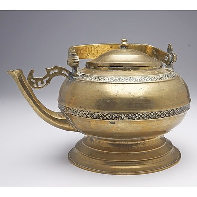 Antique Malay Indigenous Cast Brass and Tar Inlaid Kettle, Probably Minangkabau People