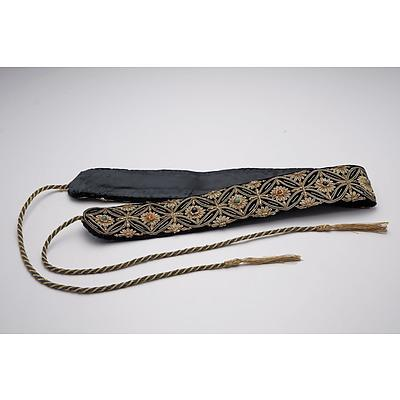 Malay Couched Metal Thread and Gem Set Silk Ceremonial Belt