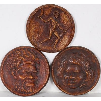 Three F. Rentz Aboriginal Portraits, Carved Wood, Circa 1950s
