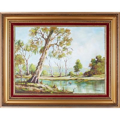 J. Robinson, Australian Landscape, Oil on Board
