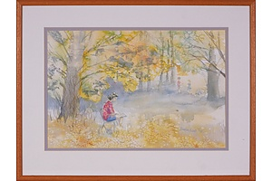 Marilyn Ecob, Seated in the Forrest 1990, Watercolour