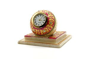 24ct Gold Plated and Alabaster Desk Clock