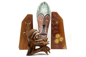 Tribal Mask, Polynesian Shell Inlaid Carving and Pair of Aboriginal Painted Bookends Signed Jonno 95, Mogo