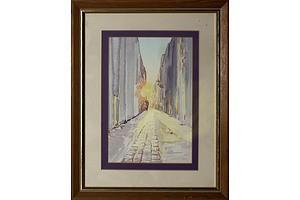 Zimmerman, Sunset Street 1984, Watercolour