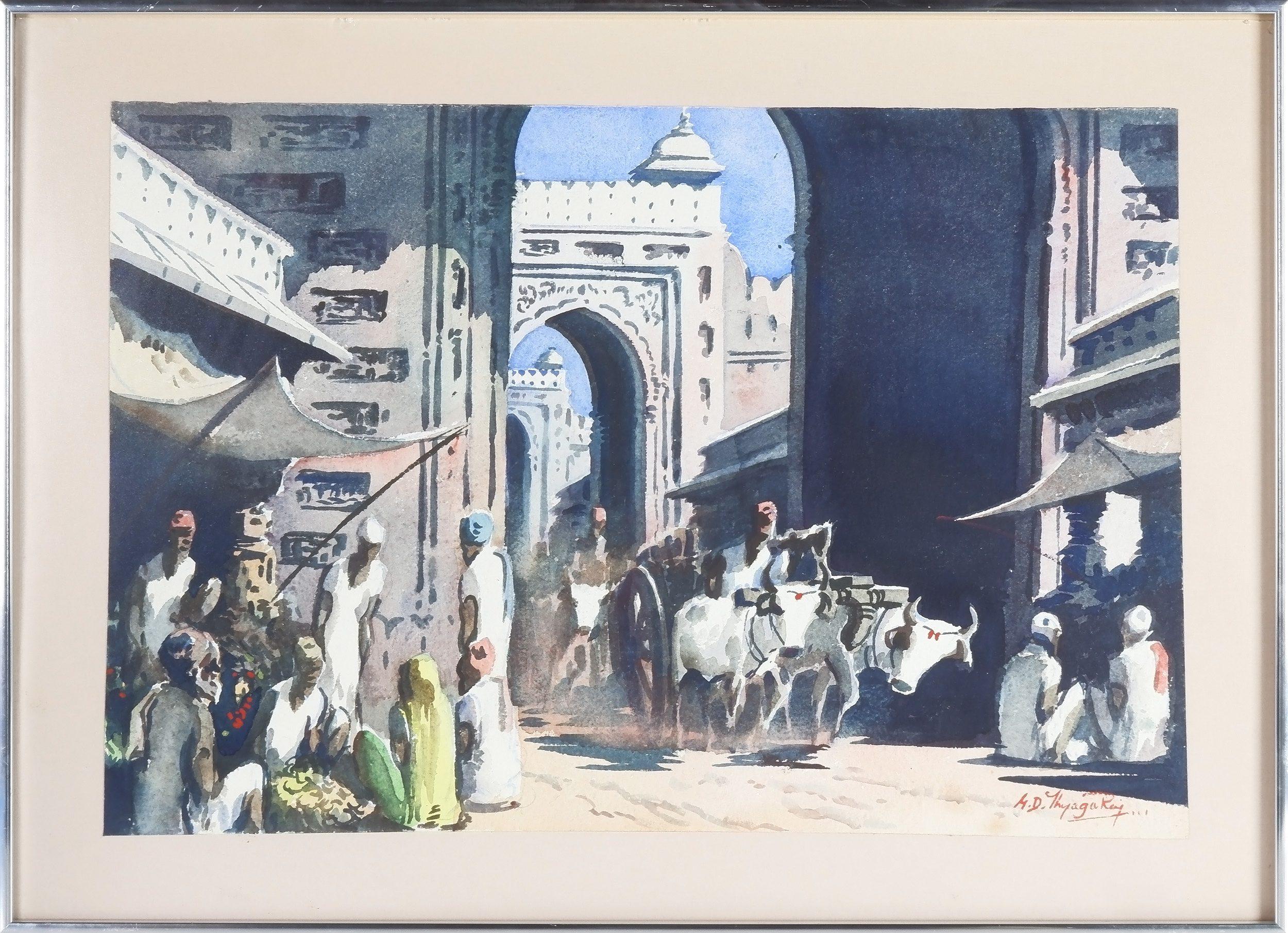 'M. D. Thyaga Raj (India, 20th Century) The Old City Gates, Watercolour'