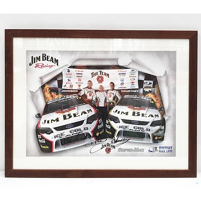 Wooden Framed Ford Racing Team Poster Signed by Dick Johnson