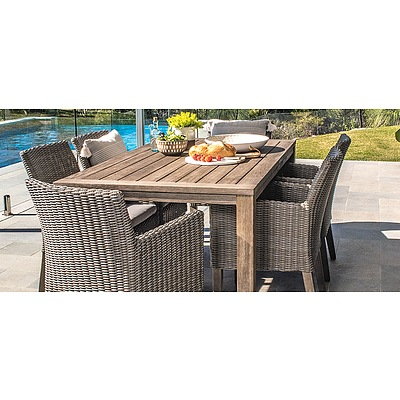 'Vue Madrid' Nine Piece Outdoor Bistro Table and Chairs Setting - As New