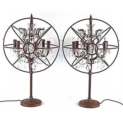 Fabulous Pair of Large Hollywood Regency Style Bronzed Metal Table Lamps with Glass Prism Drops