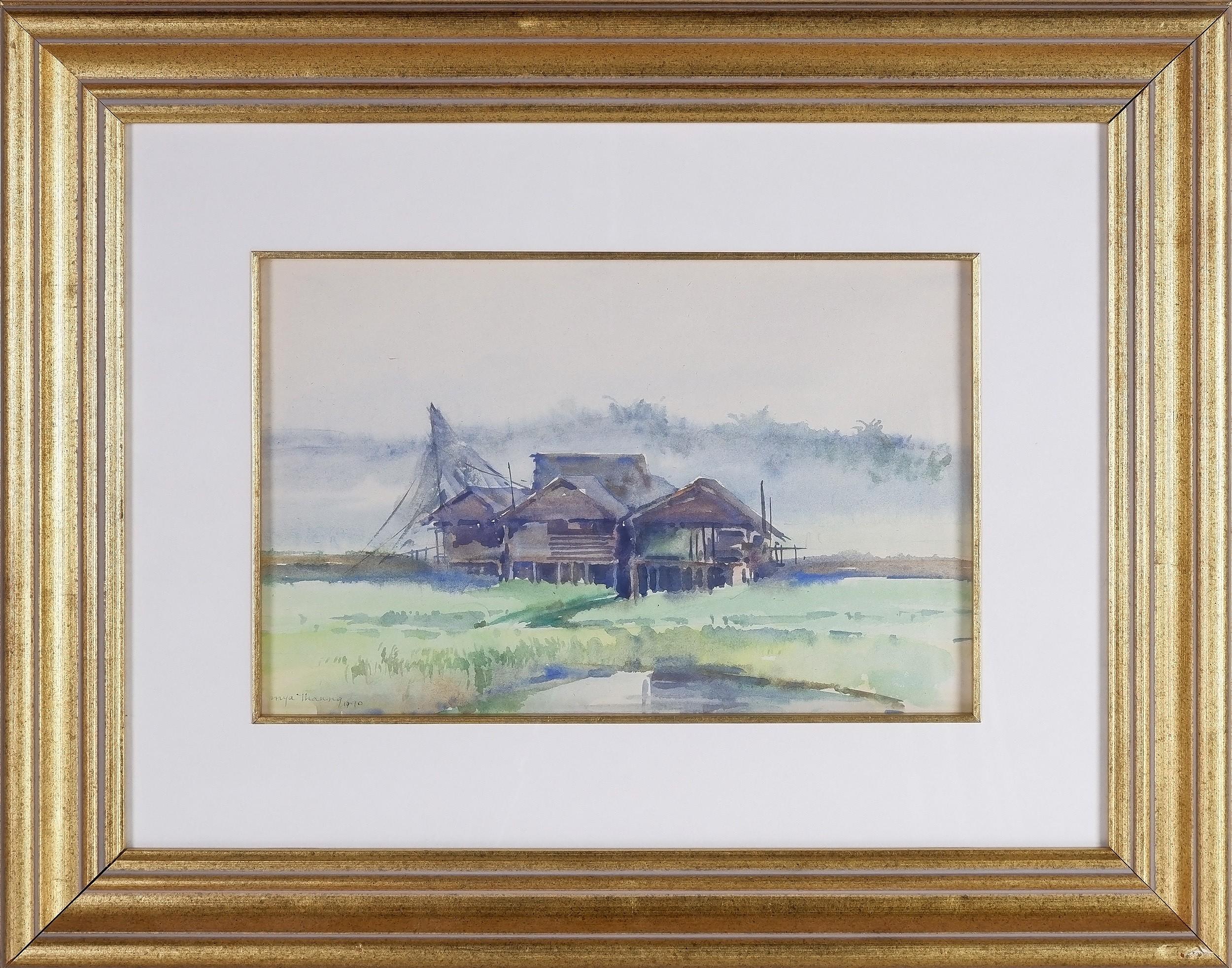 'Mya Thaung  (Burmese 1943-) Misty Farmhouse 1990, Watercolour'
