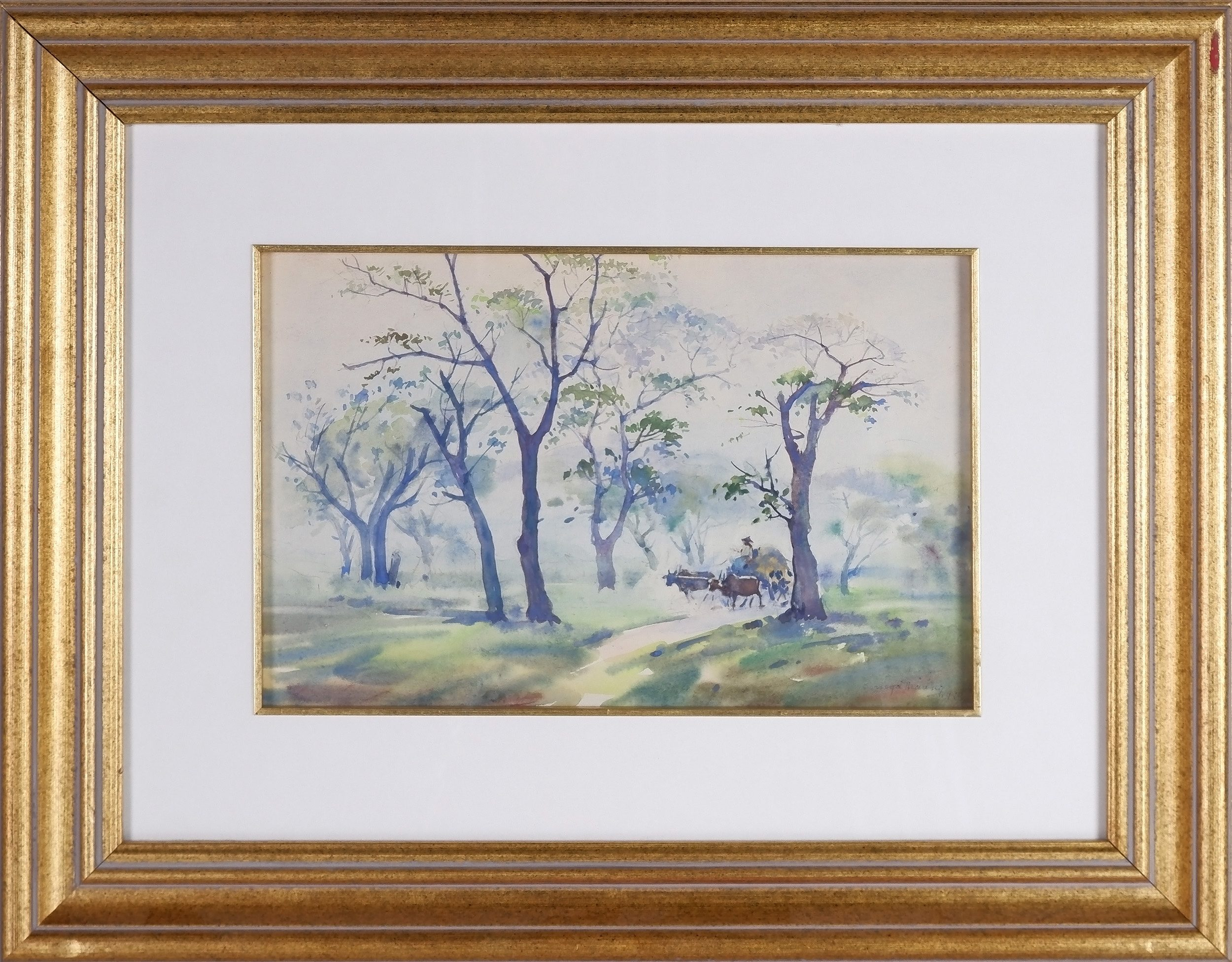 'Mya Thaung  (Burmese 1943-) Farmers Road 1990, Watercolour'