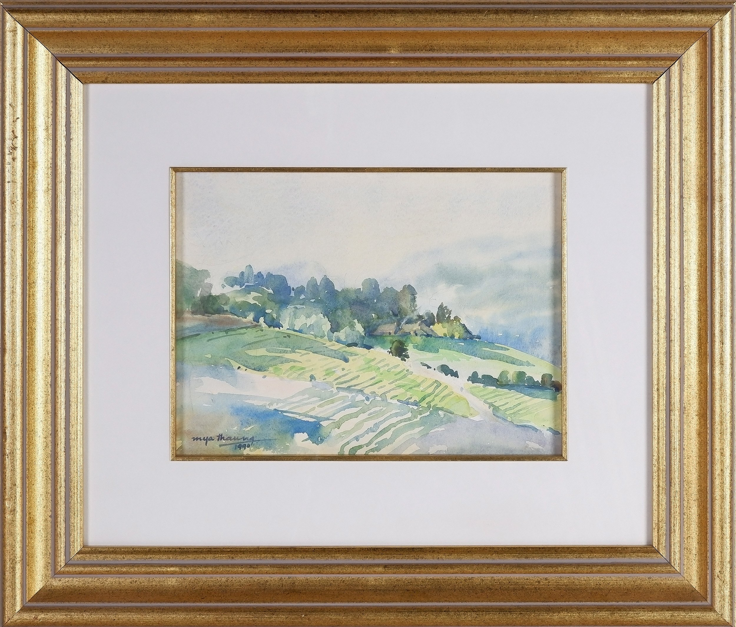'Mya Thaung  (Burmese 1943-) Winter Hills 1990, Watercolour'