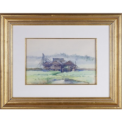 Mya Thaung  (Burmese 1943-) Misty Farmhouse 1990, Watercolour