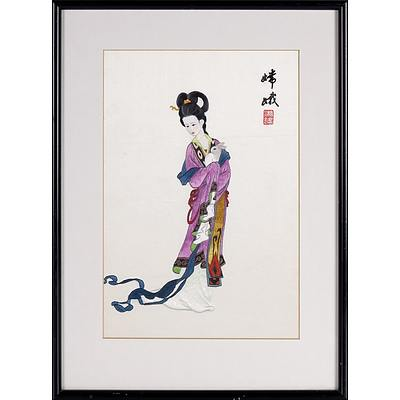 Chinese Long Stitch Silk Embroidery of the Moon Goddess and the Jade Rabbit