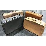 4 Branded Vintage Leather Suitcases