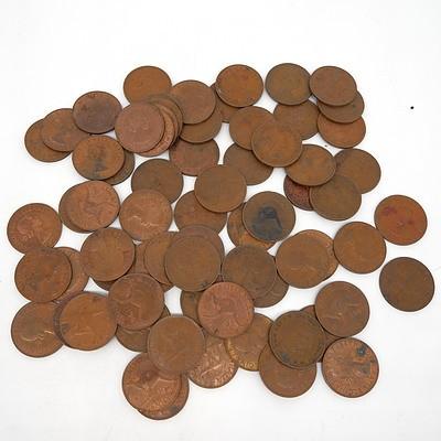Seventy Two Elizabeth II Australian Pennies