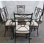 Wrought Iron Table Setting and Six Chairs