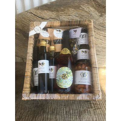 Delicious hamper of Rosnay produce: Sparkling Rose, fig preserve, olives, olive oil, chilli paste, and dried figs