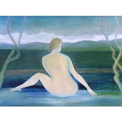 Painting: Bather at Merrijig Rockpool by Stephen Cherubin