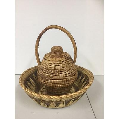 Set of 2 African handwoven baskets I