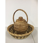Set of 2 African handwoven baskets I