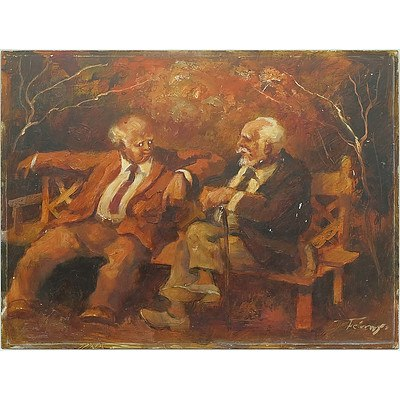 Zoltan Fenyes (Hungary Australia 1924-1997) Conversation, Oil on Board, Unframed